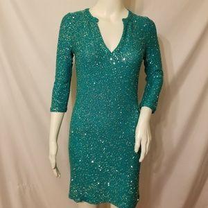 Oscar de la Renta Sequin Sweater Dress